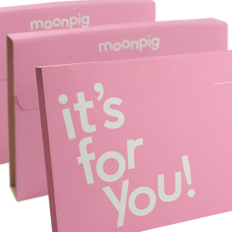 Moonpig pink postal wrap packaging manufacturer